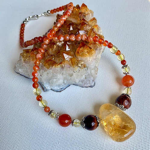 Citrine, with Red Tigers Eye, Carnelian & Citrine beads