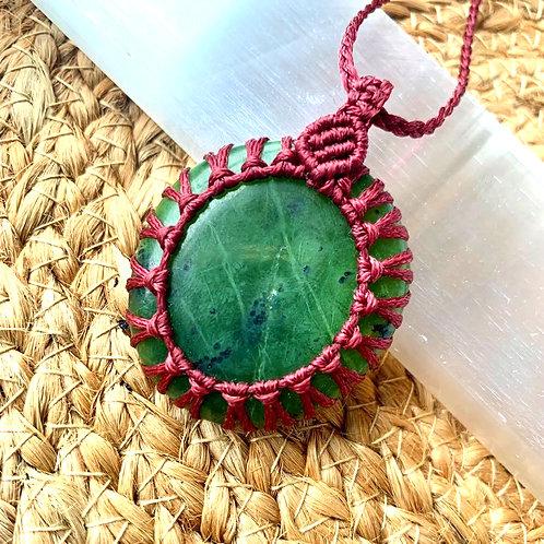 Jade (Greenstone) Macrame Necklace