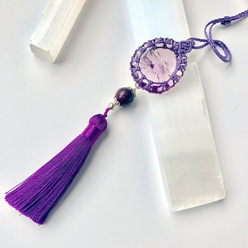 Amethyst Tassle Pendant, with Ruby Zoisite Bead