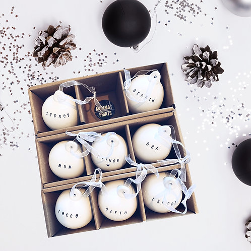 Ceramic Personalised Christmas Baubles
