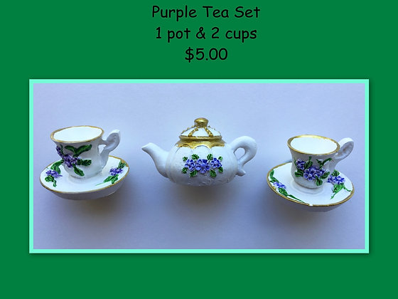 Miniature Set: Purple Tea Set