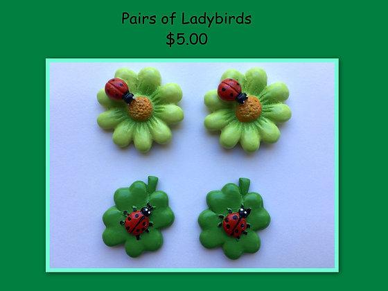 Miniature Pack: Ladybirds on Flower & Leaf