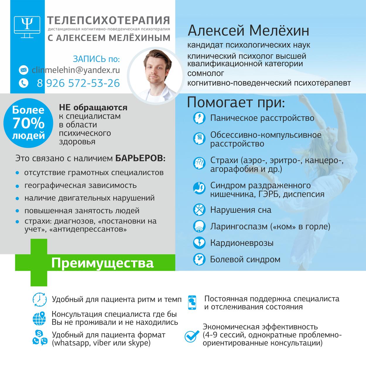 Запись на онлайн (скайп, вотсап) прием к Алексею Мелёхину