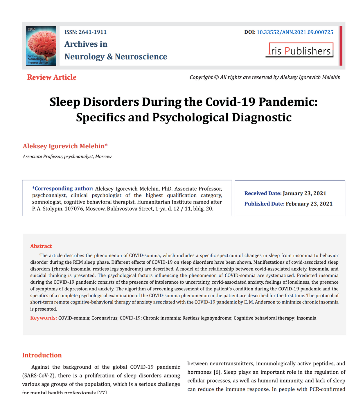 Aleksey Melehin Sleep Disorders During the Covid-19 Pandemic: Specifics and Psychological Diagnostic