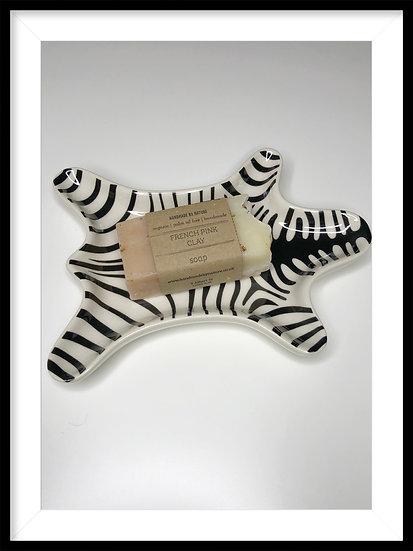 Zebra Print Soap dish • Jewellery or Tealight Holder•