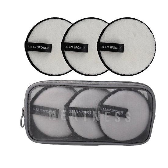 Reusable Microfiber Cleansing Pads & Cosmetic Zip Case
