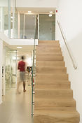 Double storey commercial office with glass & teakwood staircase