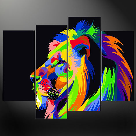 ABSTRACT-LION-SPLIT-CANVAS-WALL-ART-PICT