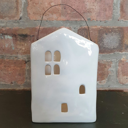 White Ceramic House Candle Holder