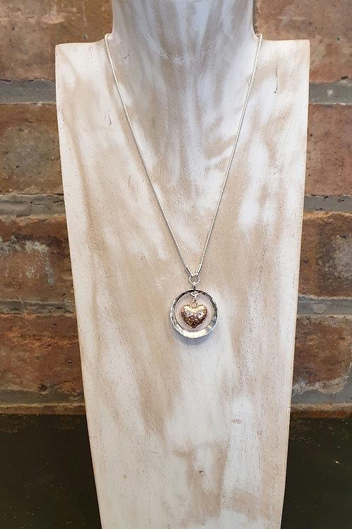 Rose Gold Hammered Heart/ Silver Hoop Necklace