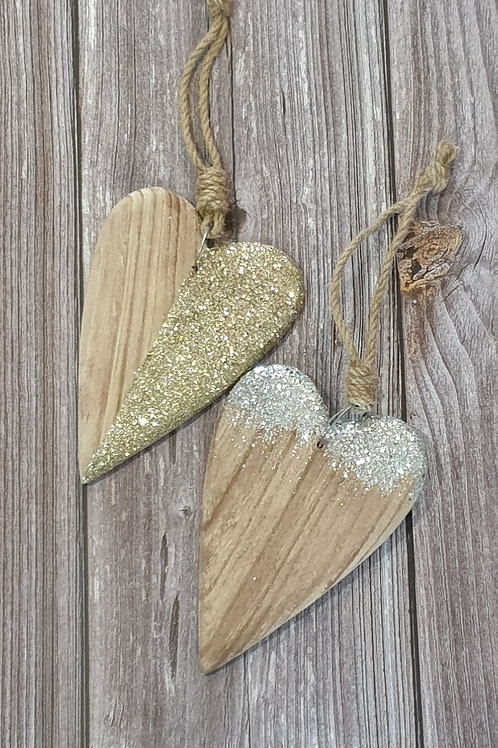 Wooden Heart with Gold or Silver mix