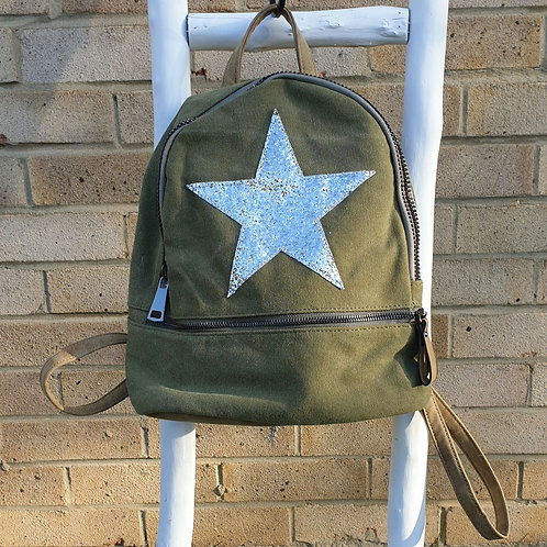 Khaki Green Star Backpack