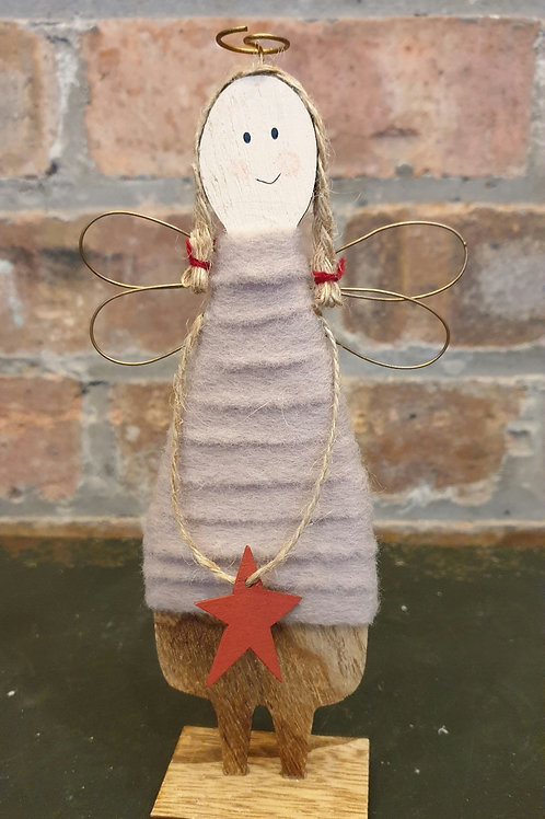 Wooden Angel with Red Star