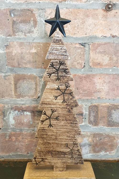 Wooden Tree with Metal Star