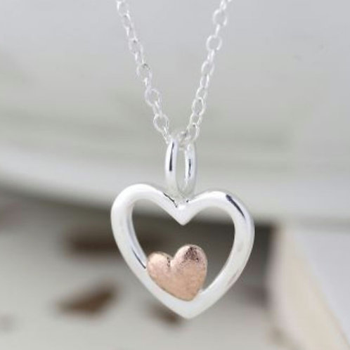 Sterling Silver & Rose Gold Double Heart Necklace