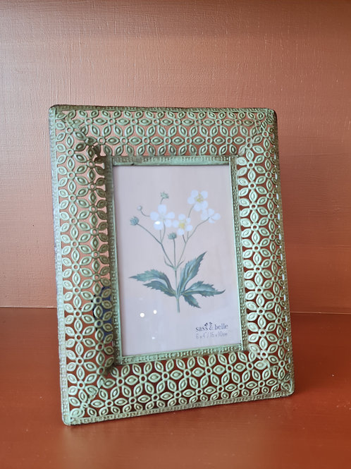 Green Metal Floral Photo Frame