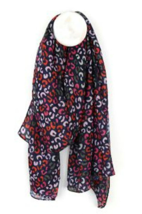 Navy Blue, Red, & Pink Print Recycled Scarf