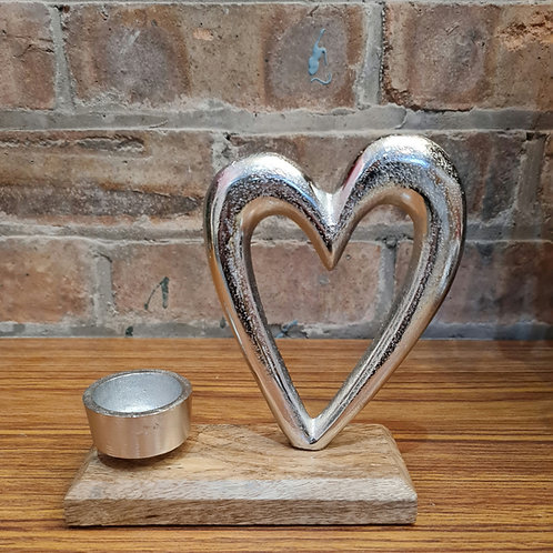 Metal Heart & Tealight Holder on Wood Base