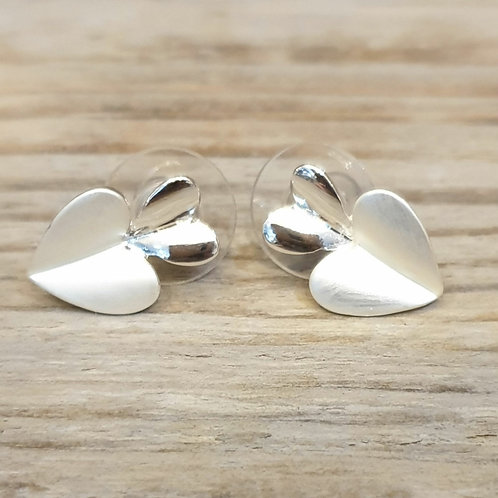 Silver Plated and Resin Double Heart Stud Earrings