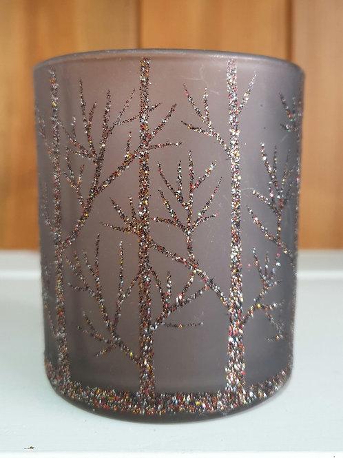 Brown Glitter Tree T-Light Holder