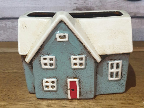 Light Blue House Pot