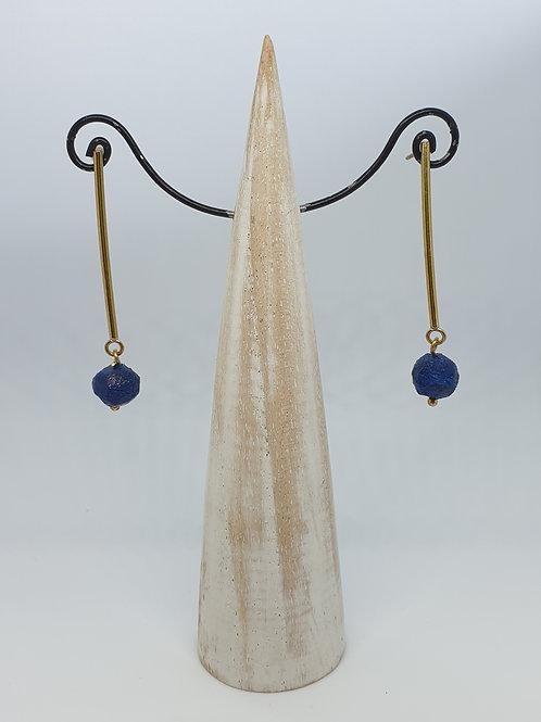 Nugget bar stud earring Blue