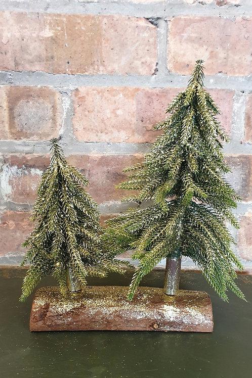 Gold Glitter Christmas Tree on  Wooden Base