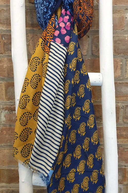 Blue mix Indian inspired print scarf