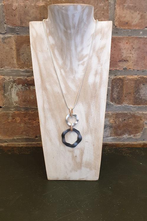 Silver and Black Irregular Circle Pendant Necklace
