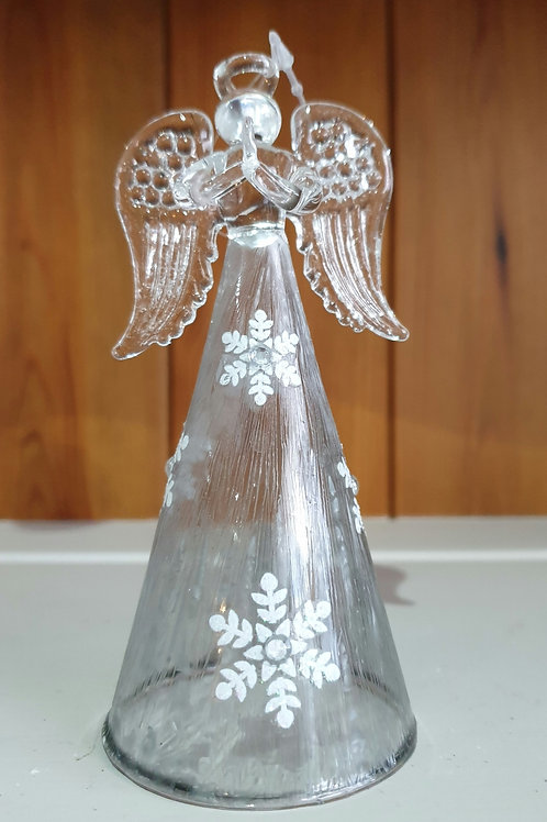 Glass Angel With Snowflakes