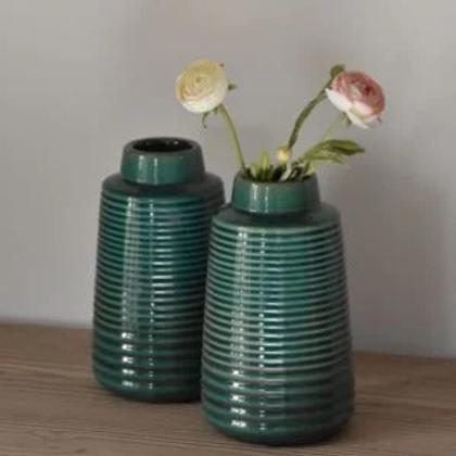 Ribbed Vase Green