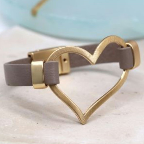 Taupe Bracelet with Large Golden Heart