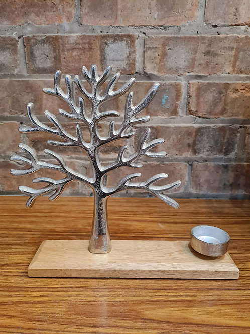 Metal Tree of Life with Tealight Holder on Wooden Base