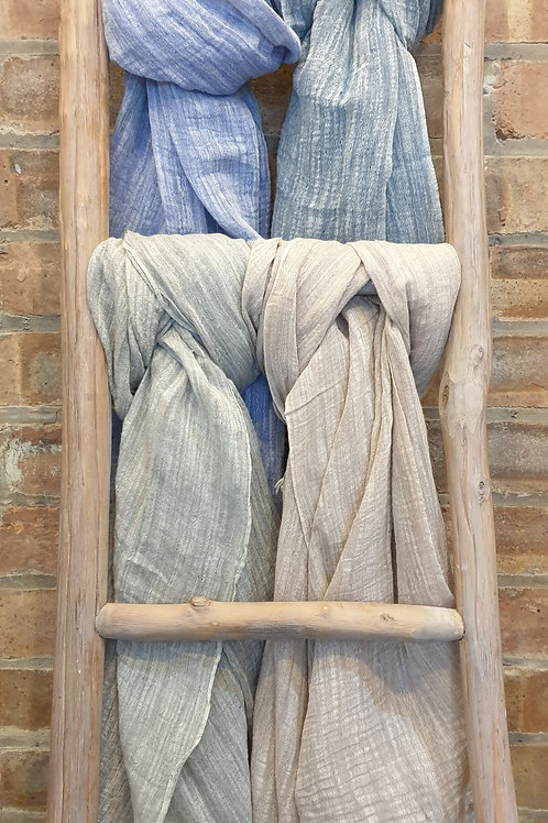 Casual plain frayed linen scarf