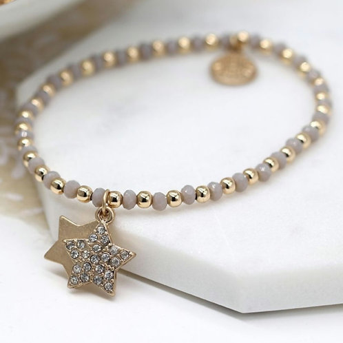 Gold & Grey Bead Bracelet with Double Star & Crystal Charms