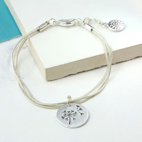 Silver Plated Triple Strand Dandelion Disc Bracelet