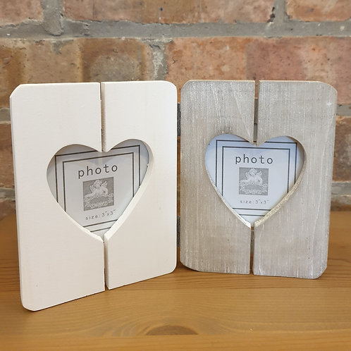 Wooden double Heart photo frame