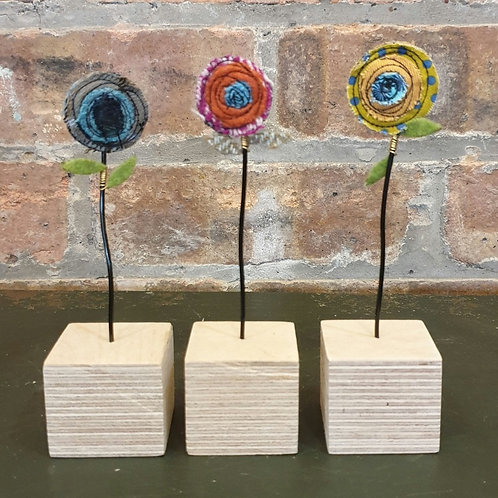 Fabric Flowers on Wooden Block