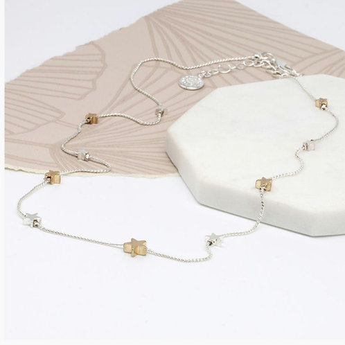 Silver & Gold Plated Star Necklace with a Fine Chain