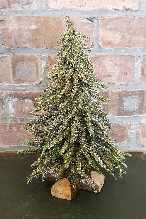 Gold Glitter Christmas Tree on Round Wooden Base