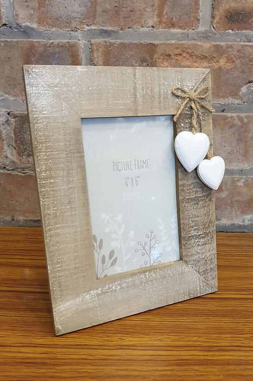 Driftwood Photo Frame with White Heart Decoration