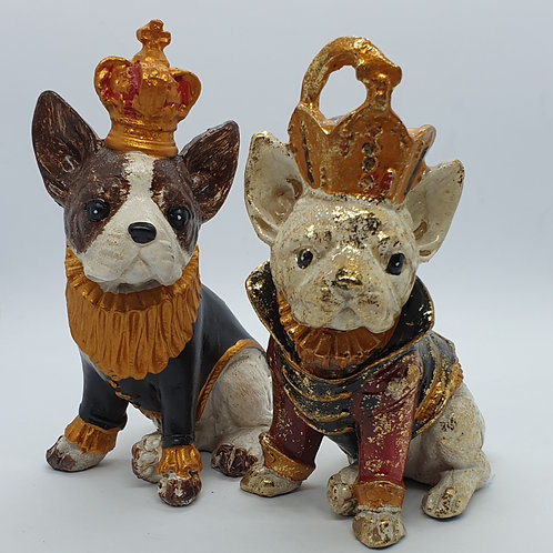 Bulldog with Coat and Crown