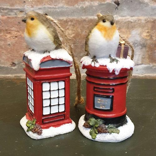 Robin on Post Box/Telephone Box Hanging Decoration