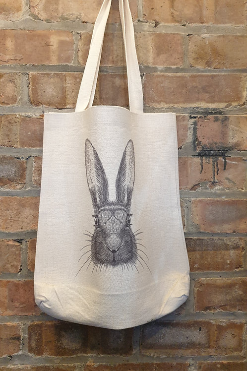 Linen Bag with Hare Print