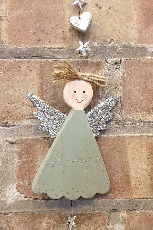 Wooden Angel in Green Dress