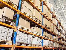 Storage boxes in a warehouse
