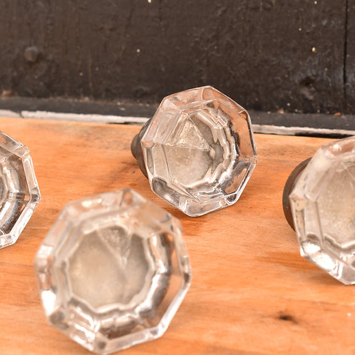 Set of 4 Antique Empire Style Glass Drawer Pulls