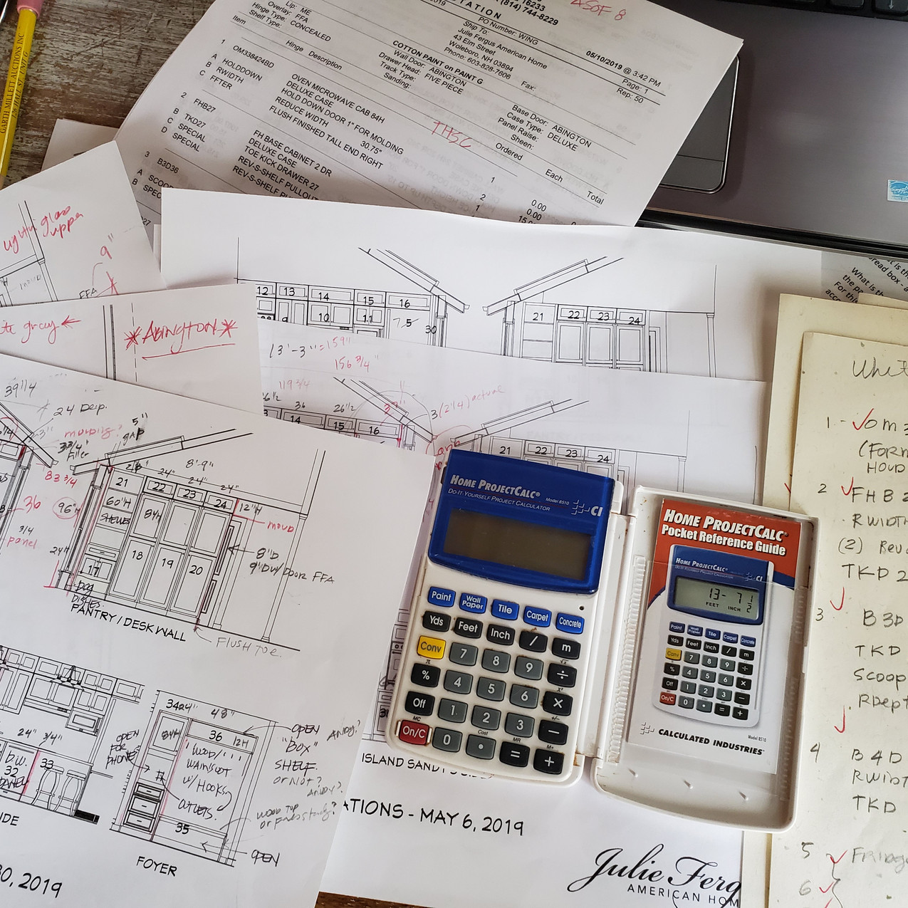 Doing the cabinetry math.