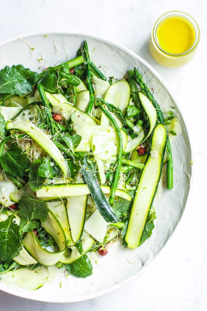 Pickled zucchini, pea & pecorino sal