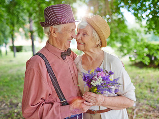 A long-time retired, elderly couple were married for over sixty years.